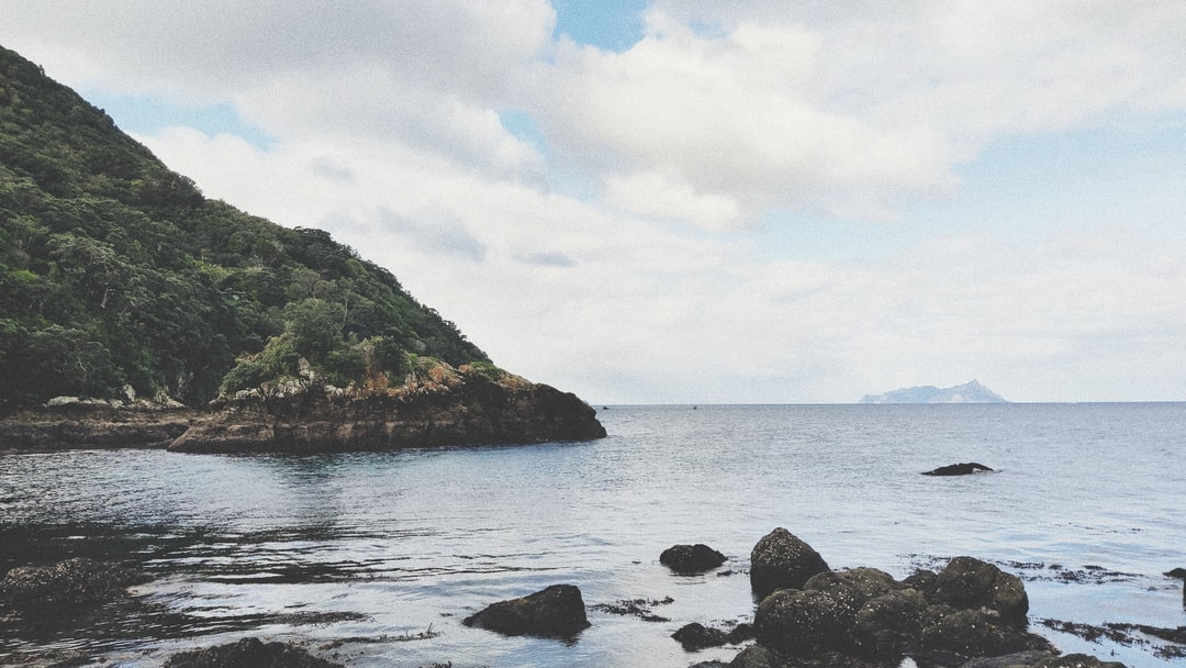 A rocky shore next to a body of water